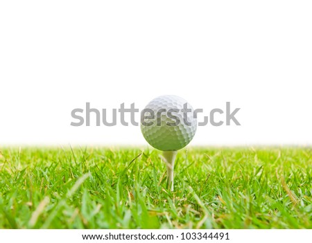 golf ball and tee grass - stock photo