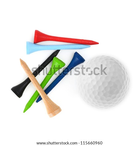 Golf ball and tees isolated on white