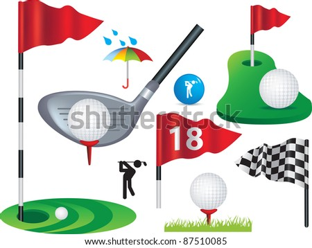 Golf ball, flags and golfing design elements some use gradient mesh - stock photo