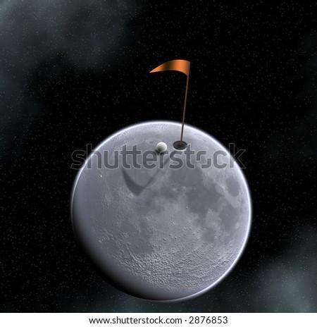 golf ball hole and flag on moon surface