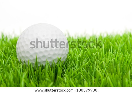 Golf Ball in Grass Isolated on White