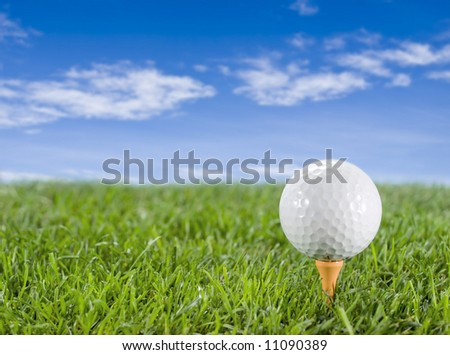 Golf ball in the grass on the tee
