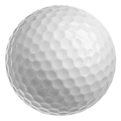 Golf ball isolated on white background, full depth of field, clipping path