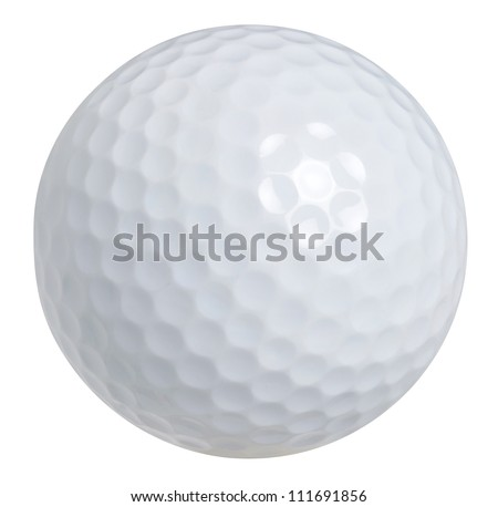 Golf ball isolated on white with clipping path - stock photo