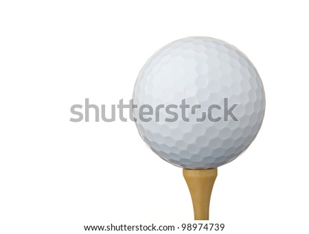 Golf ball on a tee, isolated on white