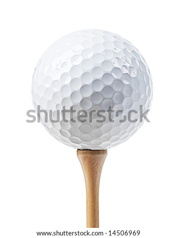 Golf ball on a tee isolated on white (with clipping path)