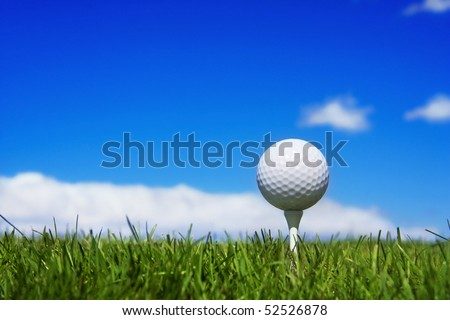 Golf ball on a tee, simple golf background