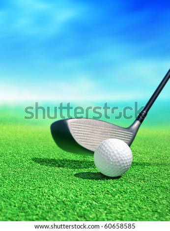 golf ball on course in front of driver