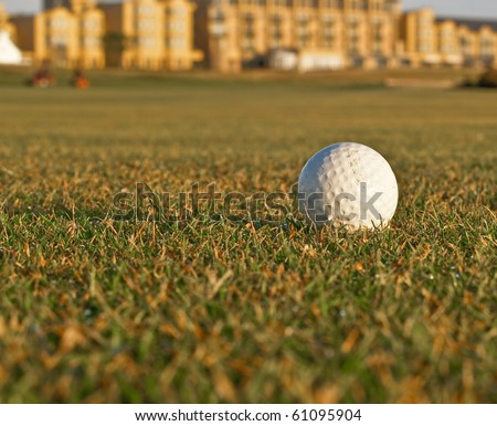 Golf ball on fairway of golf course.
