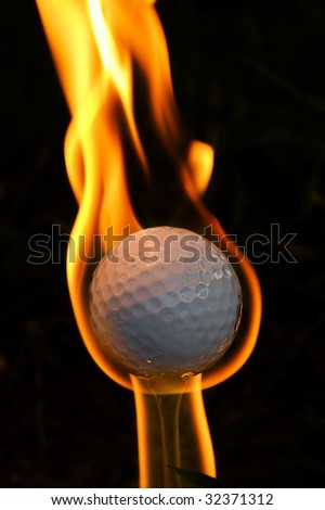 Golf ball on fire and melting intended for the concept, On Fire meaning  Ace --hole in one...