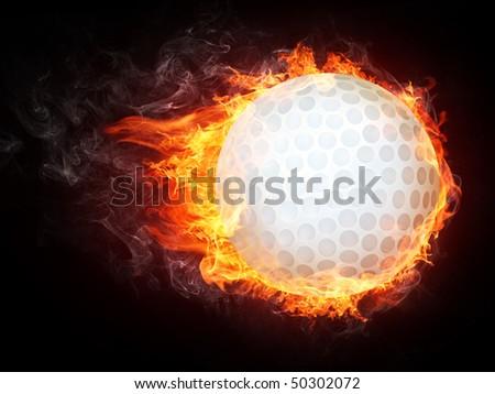 Golf Ball on Fire. 2D Graphics. Computer Design.