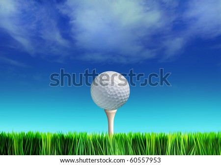 Golf ball on grass against blue sky and white clouds