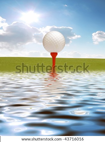 Golf ball on grass and simulated water reflection