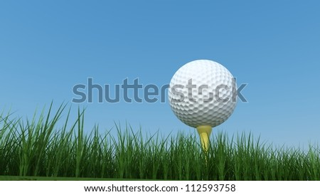 Golf Ball on Grass Field with Sky Background