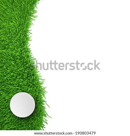 golf ball on grass. realistic grass. close up