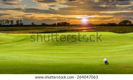 golf ball on green.