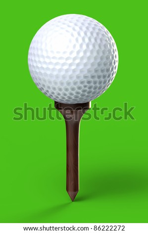 Golf ball on green background - isolated with clipping path