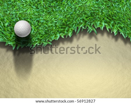 Golf ball on green grass for web page background