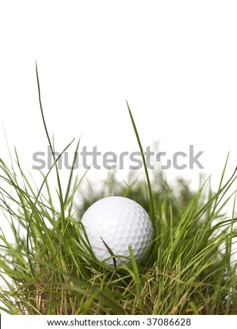 Golf ball on green grass isolated on a white background