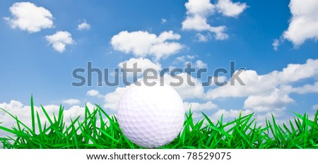 Golf ball on green grass with blue sky