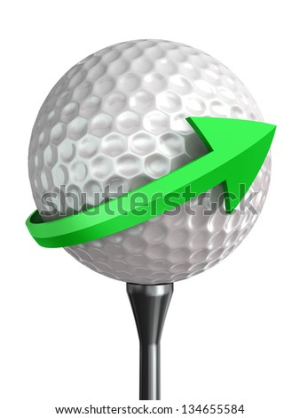 golf ball on tee and green arrow isolated on white background - stock photo