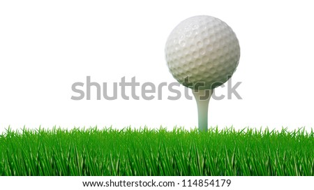 golf ball on tee and green grass as ground
