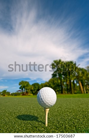 golf ball on tee at driving range