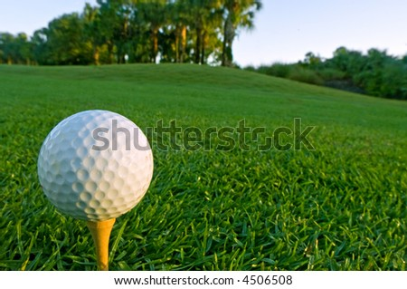 golf ball on tee in early morning