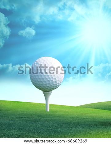 Golf ball on tee in golf club