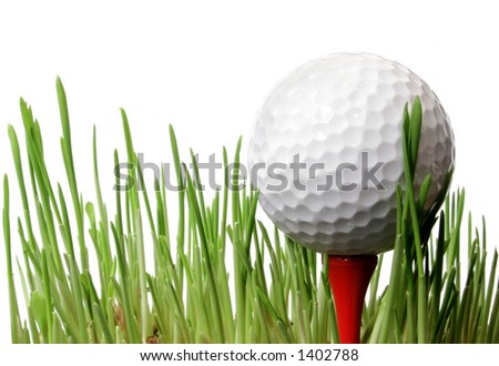 Golf ball on tee in grass with white background
