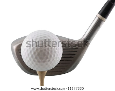 Golf ball on tee with club behind