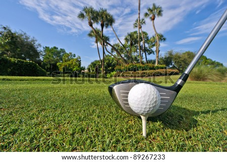 golf ball on tee with driver at tropical course, high res capture