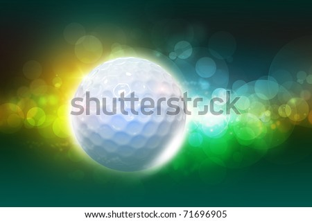 Golf ball on the color green glow background