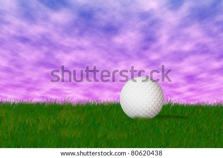 Golf ball on the green grass