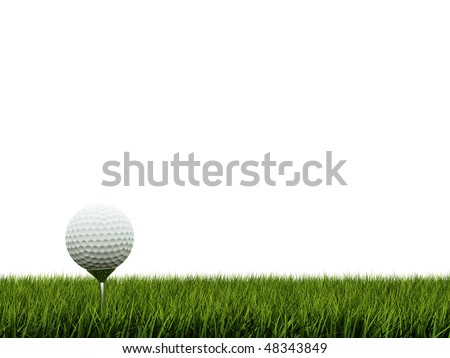 Golf ball ower green grass - stock photo