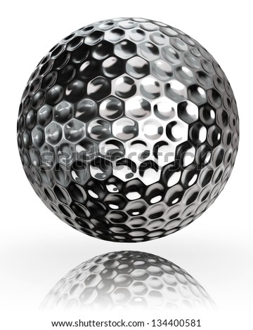 golf ball silver metal on white background. clipping path included