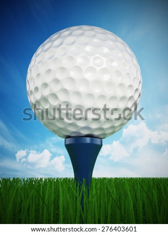 Golf ball standing on golf tee against blue sky