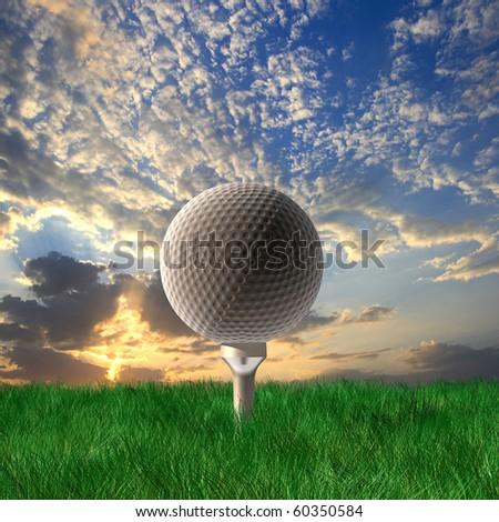 Golf ball under cloudy sky