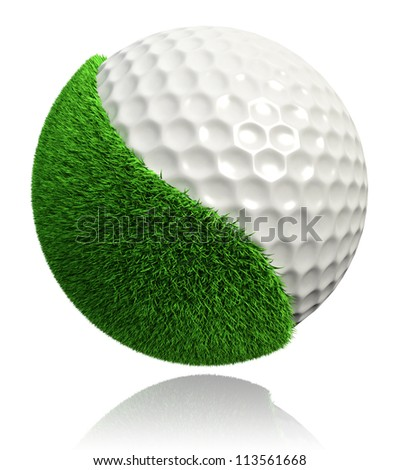 golf ball with green grass on white background. clipping path included