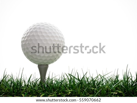 Golf ball with tee in the grass on white background #559070662