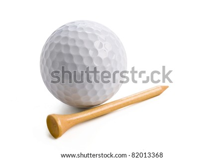 golf ball with tee isolated on white background with clipping path.