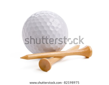 Golf ball with tees isolated on white background with clipping path.
