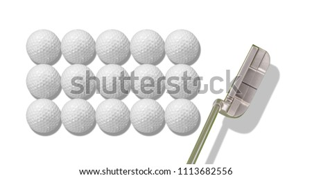 Golf balls and Golf putter isolated on white background with space for text