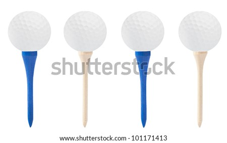 Golf Balls and Golf Tees on White Background Isolated