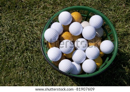 golf balls in a basket is on the grass