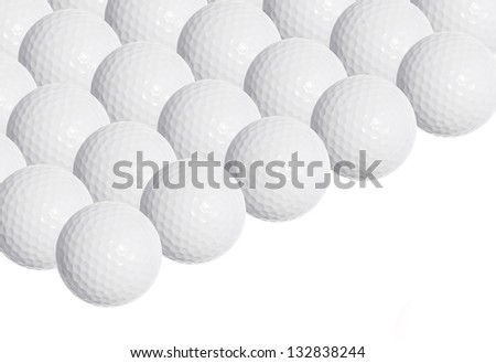 Golf balls, isolated on white background