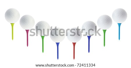 Golf Balls on Tees with White background