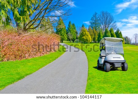 Golf cart at the course path ( trail ).