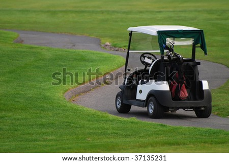 Golf cart at the tee-box