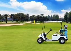 Golf Cart on Beautiful golf course